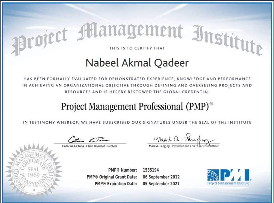 Nabeel qadeer PMP Certification Project Management Professional
